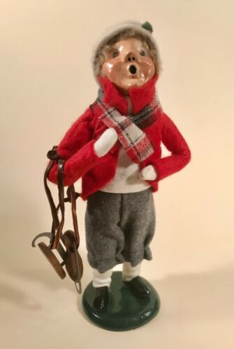 Byers Choice Carolers 1988 Victorian Boy in Knickers Carrying Ice Skates Signed
