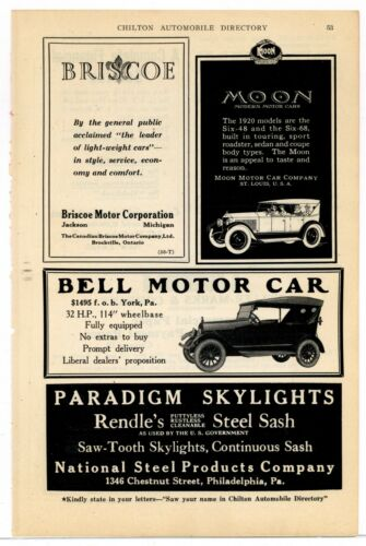1920 Moon Motor Cars, Briscoe, & Bell Motor Cars Ad - 3 on Same Page