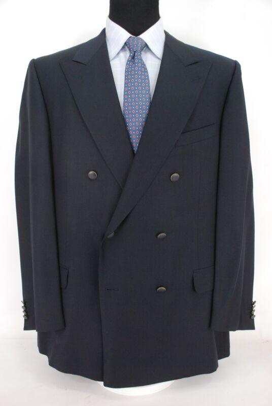 60c200fd7f Details about Ermenegildo Zegna Double Breasted Blazer Navy Blue Wool Men's  46XL