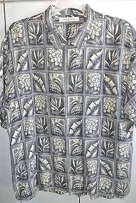 Tommy Bahama  Mens XL   Pineapple Palm Bird of Paradise in Squares Silk/Mint