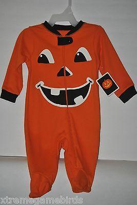 HALLOWEEN - 0-3m NWT PUMPKIN SMILEY FACE footed sleeper Glow in dark costume