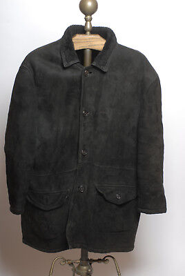 Bally made in Italy Mens leather suede fur lined button front two pocket coat XL - Lined Two Pocket Coat