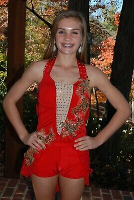 Red custom  competition dance costume jazz open  costume adult small/medium