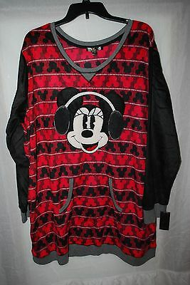 NWT WOMENS DISNEY LUXE FLEECE PAJAMA SLEEPSHIRT TOP MINNIE MOUSE EARMUFFS SZ 1X - Disney Luxe Pajamas