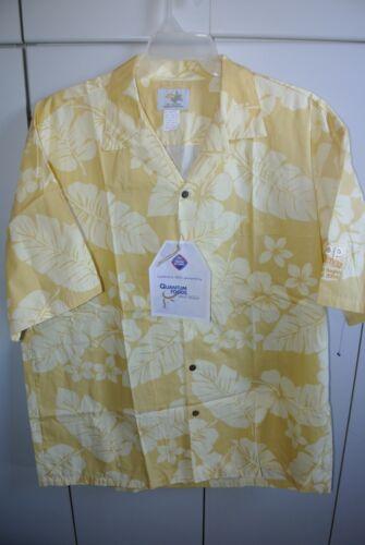 Ho Aloha Mens XL Hawaiian Floral Pareo over Yellow IHOP Conference Shirt /NWT