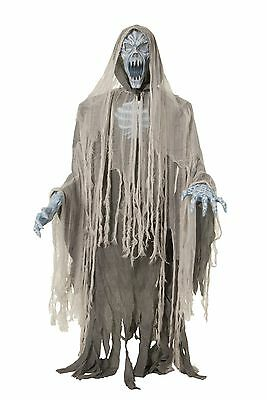 Halloween Lifesize Animated HOODED EVIL GHOSTLY ENTITY Prop Haunted House  - Evil Entity Animated Halloween Prop