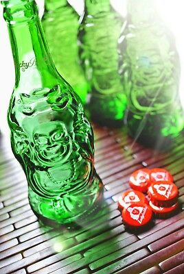 Jacket Green Glass - 3 Lucky Buddha Beer Bottle w Cap Empty Green Glass Collectible Craft Budha Lot