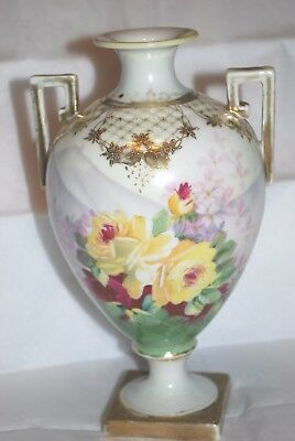 ANTIQUE NIPPON HAND PAINTED GOLD TRAM FLOWER VASE, 8""