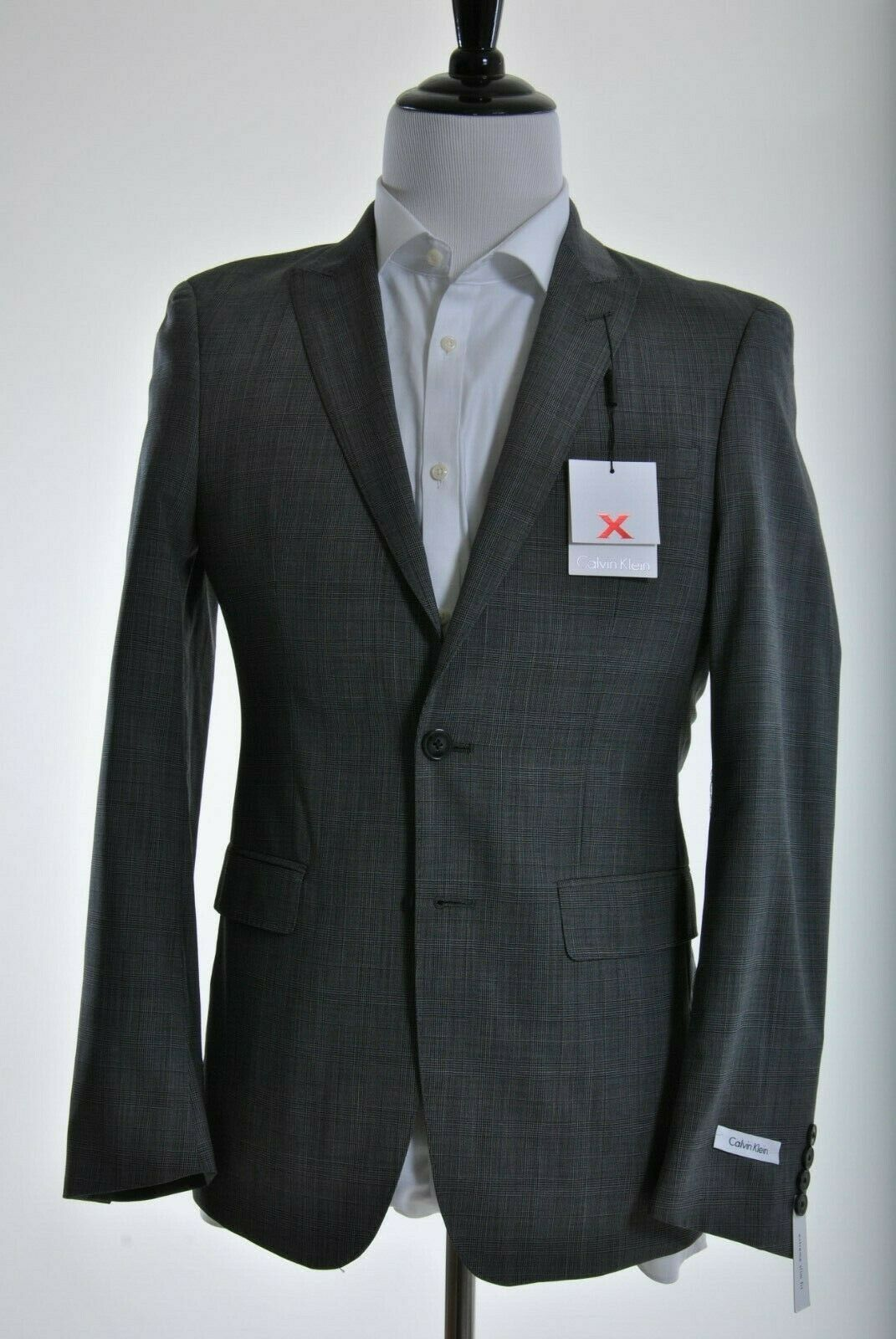Calvin Klein Extreme Slim Fit Two Button Gray Plaid 100% Woo