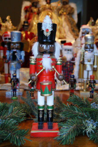 African American Ethnic Black Red and Green Drummer Nutcracker