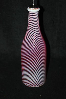EXTREMELY RARE VICTORIAN LARGE CRANBERRY OPALESCENT BAR BARBER SODA BOTTLE 1890S