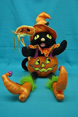 Halloween Plush Black Cat Musical Shelf Sitter Table Decoration (No Animation)