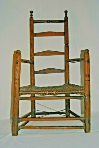 Rare 18th Century American Ladder Back Country Armchair Primitive Turned Design