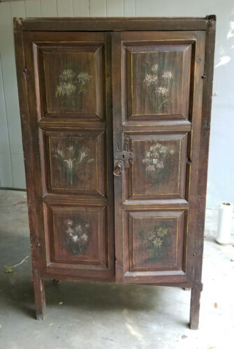 ANTIQUE RUSTIC 18TH CENTURY FOLK ART PAINTED CUPBOARD CABINET