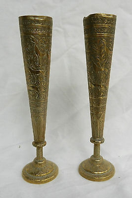 Pair Qajar / Turkmen Engraved Brass Vase / Candle / Spill Holders c1880