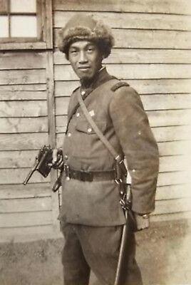 WWII Photo WW2 Japanese Soldier Manchuria 1937 Mauser World War Two Japan / 2461