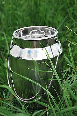 5 Qt Stainless Steel Milk Can Tote, Brand New, Seamless For Goat, Cow, and Sheep