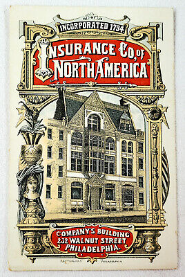 1885 Insurance Co of North America Advertising Card & Asset Statement