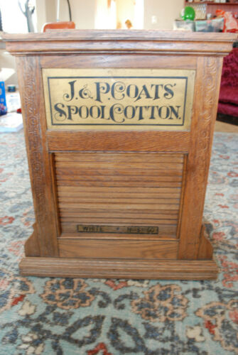 Antique  Solid Oak J.P. COATS Revolving Counter Display for Spools