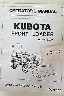 Kubota Lawn Tractor Front Loader La211 Operators Manual