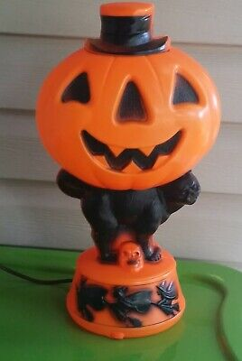 """VTG Empire 14"""" Jack O Lantern Pumpkin w/ Black Cat and Witches Blow Mold"""