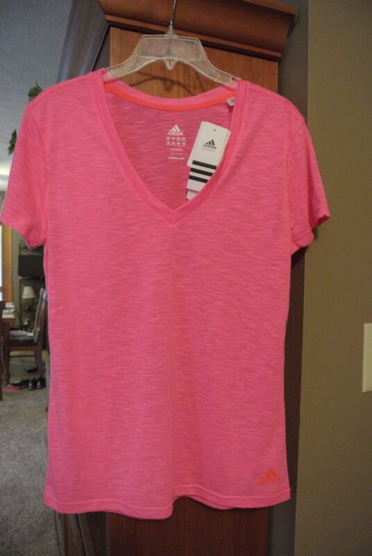 Womens M, Adidas hot pink fitness/workout/running shirt/top, new with tags
