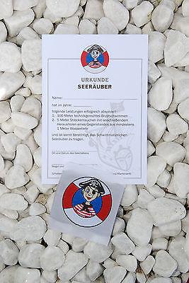 1x Seeräuber Abzeichen  + 1x Urkunde, Schwimmabzeichen Pirat,