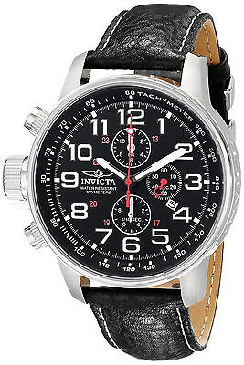 Invicta Reloj Silver Military Watch Man Hombre Crystal Leather Strap Hand Lefty