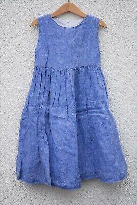 n Kleid in Blau * Sommerkleid * 100 % Leinen * 116 * 6 Jahre (Mädchen Sommerkleid Blau)