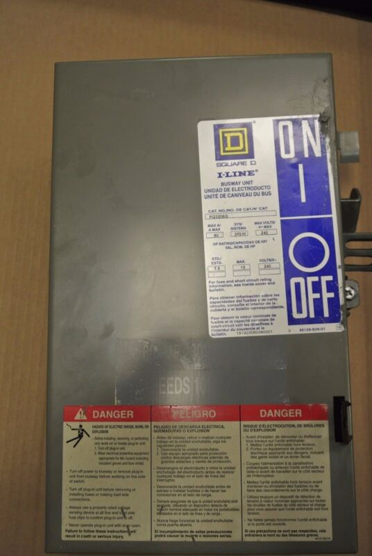 Square D PQ3206G 60 amp 3P 3W 240v fusible I line busway switch PQ vertical