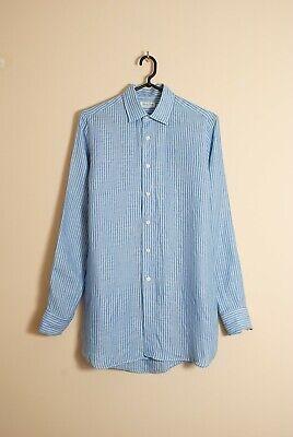 Salvatore Piccolo Striped Blue Linen Shirt Size 42