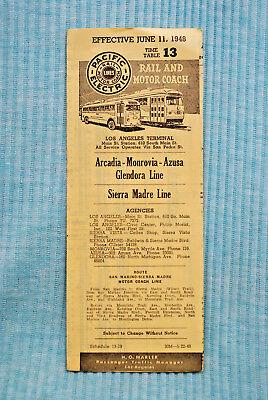 Pacific Electric Pocket Time Table #13 - Arcadia - Monrovia - Azusa - 6/11/48