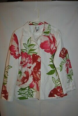 Womens CHICO'S Multi Color Floral Design Jacket Size 3