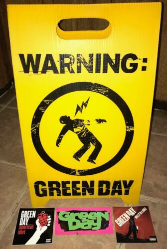 Green Day WARNING Promo Floor Sign & 3 promo stickers (2000) RARE EXC NM COND