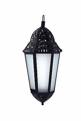 18in. Large Black Metal European-style Hanging Candle Lantern with Glass - European Large Hanging Lantern