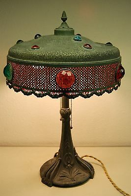 ART NOUVEAU DECO JEWELED ANTIQUE VINTAGE TIFFANY ERA  TABLE LAMP ARTS & CRAFTS