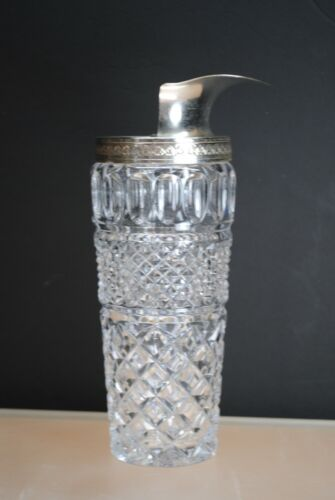 RARE ANTIQUE GLASS & SILVERPLATE COCKTAIL PITCHER