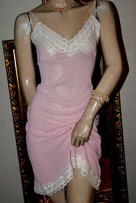 Anmutiges rosa Nylon Kunstseiden Vintage Unterkleid weiße Spitze M/L - Vintage Nylon Rosa