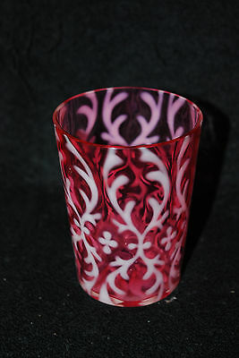 BEAUTIFUL VICTORIAN NORTHWOOD CRANBERRY OPALESCENT SPANISH LACE TUMBLER 1890'S