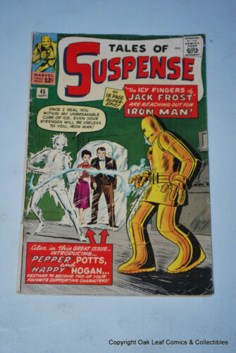 Tales Of Suspense 45 Marvel VG 1st Pepper Potts & Happy Hogan Iron Man 1963