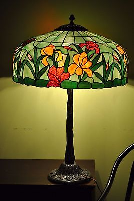Arts&Crafts,Art Nouveau Williamson,Whaley,Handel  Leaded Stained Slag Glass Lamp