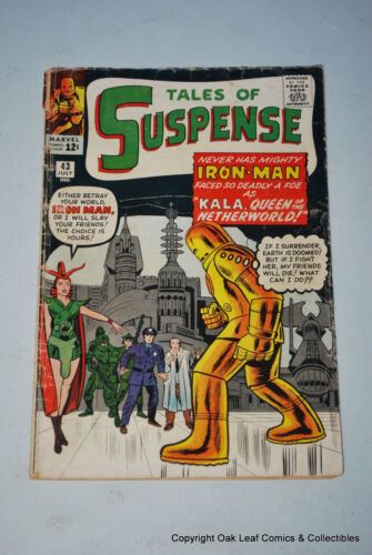 Tales Of Suspense 43 Marvel Comic Book Iron Man 1963 G-VG 1st Kala!
