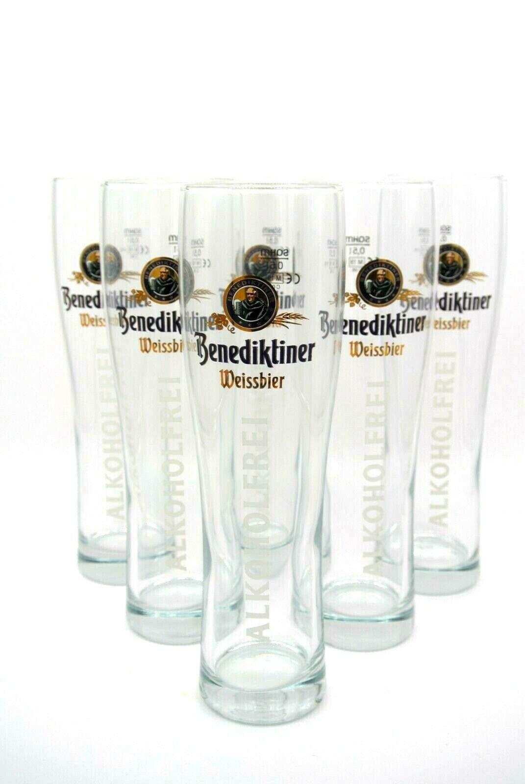 6 Benediktiner Alkoholfrei Weissbier Gläser 0,5l mit Logo NEU Glas Bier Bar Deko