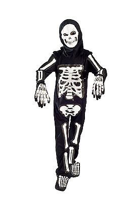 Skeleton Halloween Costume boys Light up Size 5-6, 6-8 glowing Fiber Optic Kids - Light Up Childrens Halloween Costumes