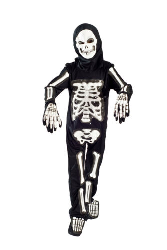 Skeleton Halloween Costume boys Light up Size 5-6, 6-8 glowing Fiber Optic Kids