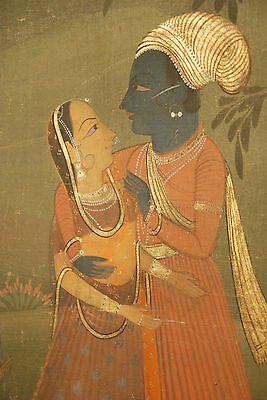 RAJASTHAN FABRIC - KRISHNA SURROUNDED BY MILK BEARER AND ATTENDANTS 18TH CENTURY