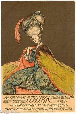 "POSTCARD DUTCH 1922 INT'L HAIR AND FASHION EXPO ""ITHIKA"" AMSTERDAM"
