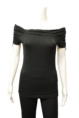 Womens New Look Off The Shoulder Gathered T-Shirt Top Black Size 6 to 18 E5.1