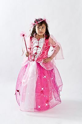 Pink Princess Costume Girls light up Fiber optic Glowing Size T S M 2 3 4 5 6 7