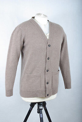 """P342/19 M&S Collection Pure Lambswool Natural Beige Cardigan, size S 36"""" Short"""